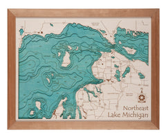 3D Laser Carved Depth Map 24 x 30 in (No Glass Front / Frame Options Available)