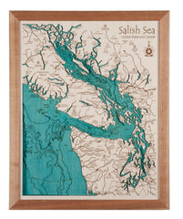 3D Laser Carved Depth Map 24 x 30 in (Frame Options Available)