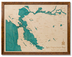 3D Laser Carved Depth Map 36 x 48 in (Burled Maple Framed)
