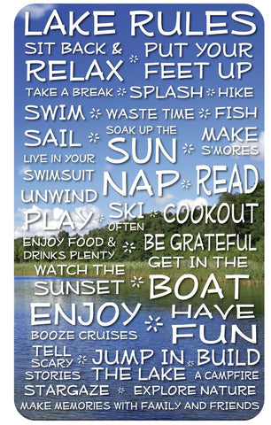 Lake Rules Sign- Clouds - 18 x 30