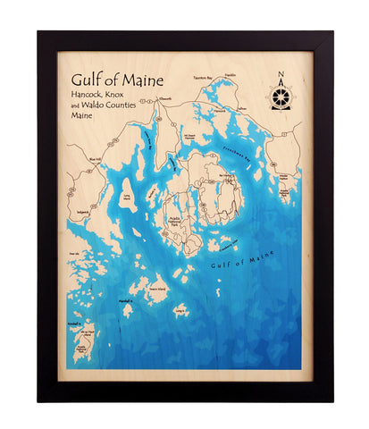 "14""x 18"" Multicolor Map Black Frame (Laser Printed)"