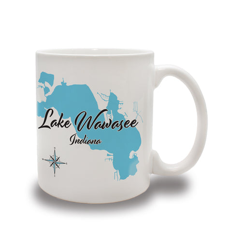 Lake Ceramic Coffee Mugs - LS - 11 oz Set of 4!