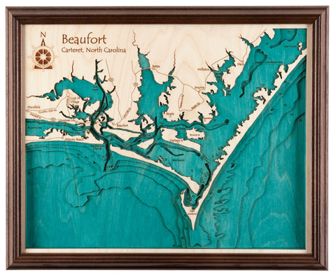 3D Laser Carved Depth Map 24 x 30 (Oak Frame Options Available with Glass Front)