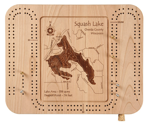 Etched Cribbage Board 9 x 12 in