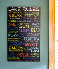 Lake Rules Sign-Black-18x30