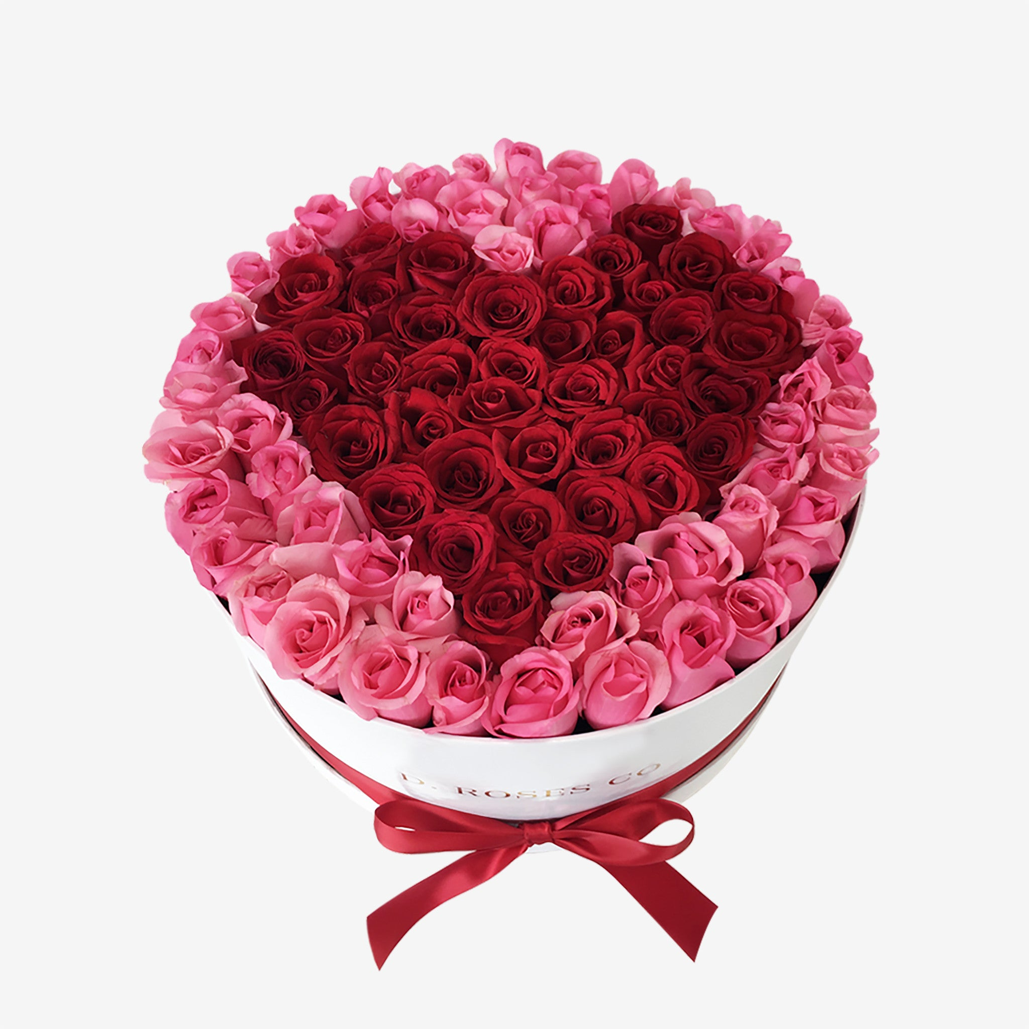 Fresh cut roses arranged to a heart in our signature large box