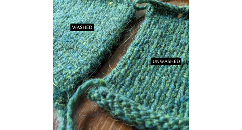 The Woolly Thistle Peace Fleece worsted weight washed and unwashed swatches