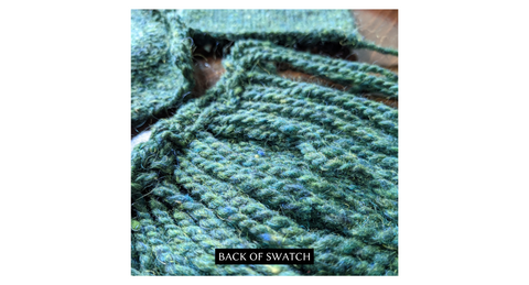 The Woolly Thistle Peace Fleece back of swatch