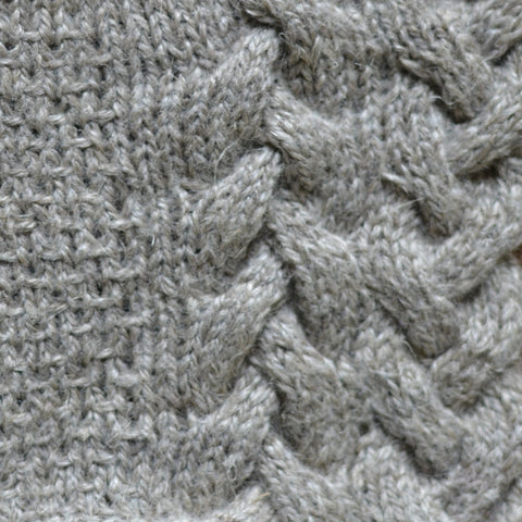 A swatch of textured stitches paired with cabling knit in Blacker Lyonesse.