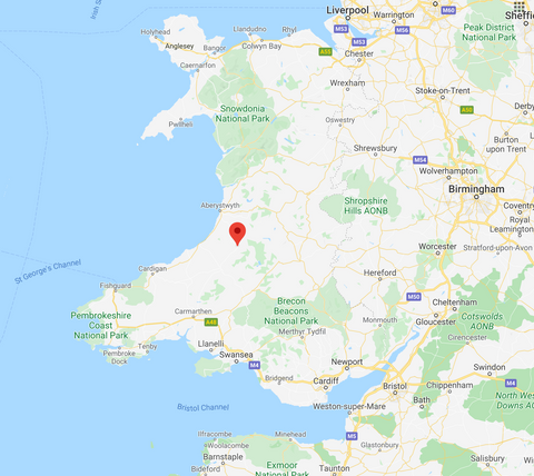 map of Tregaron UK