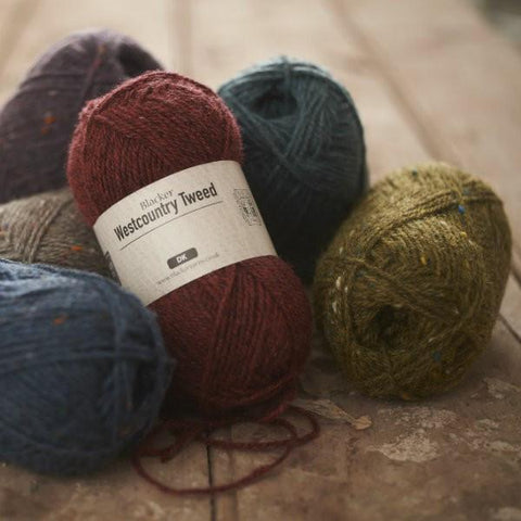 6 balls of Blacker Westcountry Tweed DK Yarn in various colorways.