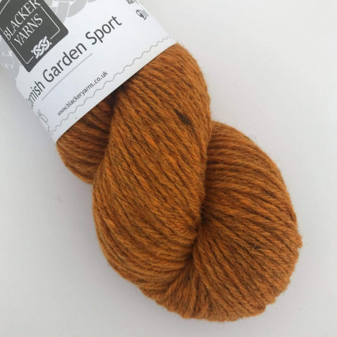 Skein of Blacker Birthday Yarn - Cornish Garden Sport yarn in Cotehele Golden Orange.