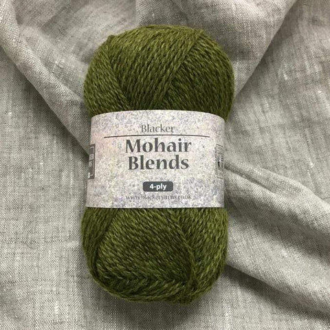 Blacker Mohair Blend 4-ply Yarn in colorway Ladock Woods, a shade of green.
