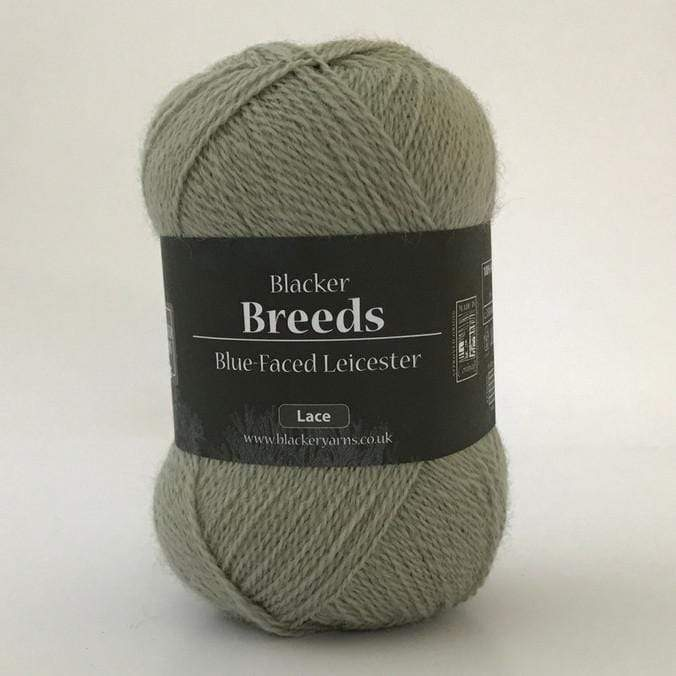 Ball of Blacker Blue-Faced Leicester 2-ply Lace Yarn in colorway Manitee, a green/gray color.
