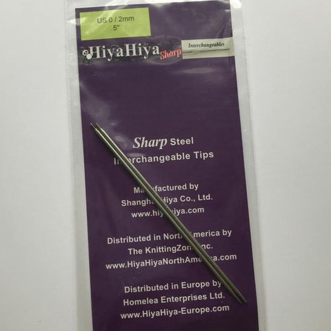"Packaged pair of 5"" steel Hiya Hiya interchangeable tips in Size  US 0/2 MM."