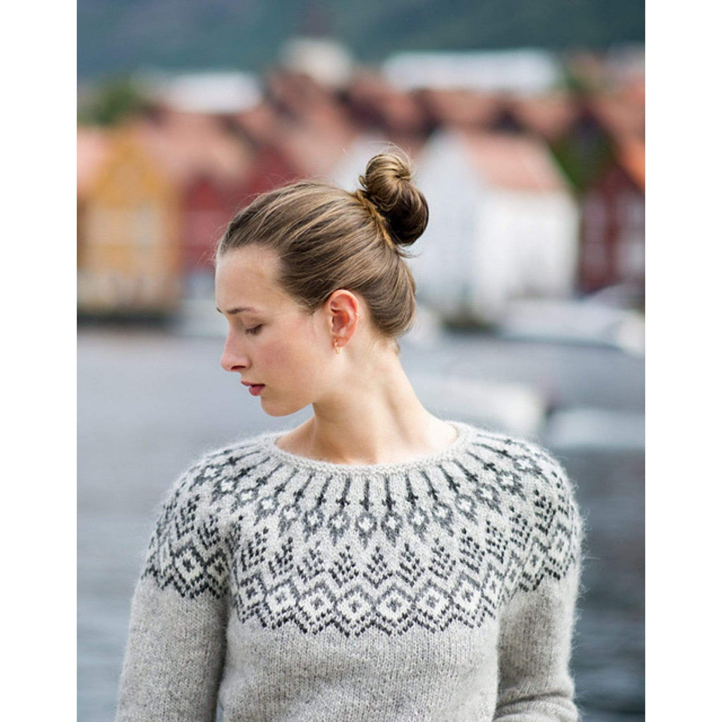 Model wearing Treelight Sweater by Jennifer Steingass.