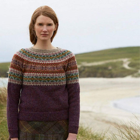 Model wearing Bressay in Jamieson's SPINDRIFT from Marie Wallin's Shetland book