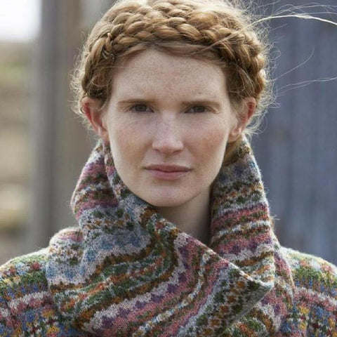 Close up of model Burra Cowl in Jamieson's SPINDRIFT from Marie Wallin's Shetland book.