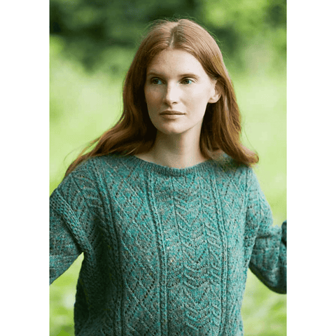 Model wearing Cornflower in Jamieson's SPINDRIFT from Marie Wallin's Meadow Book.