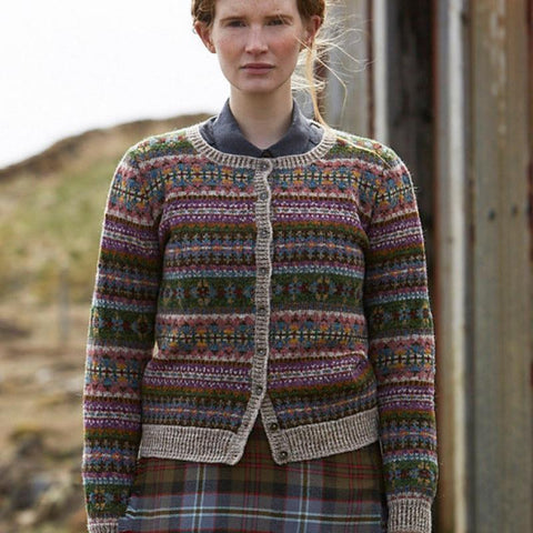 Model wearing Unst Sweater by Marie Wallin.