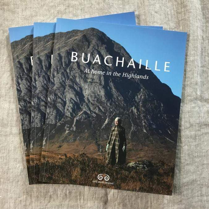Cover of Buachaille: At home in the Highlands by Kate Davies, featuring a woman outdoors in the highlands wearing knits.
