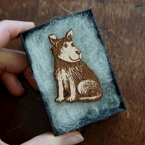 Laser engraved and cut brooch of one of Katie Green's original Jack illustrations, made in the UK from solid Beech wood.
