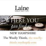 image text: Laine, where you can us. New Hampshire The Woolly Thistle.