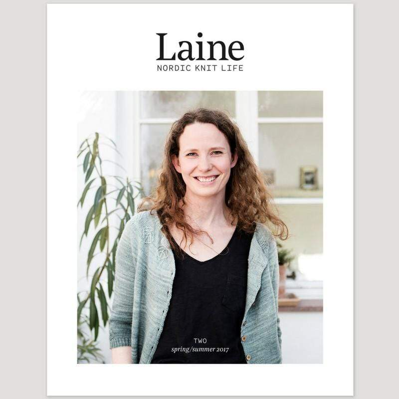 Cover of Laine Nordic Knit Life, Issue 2 featuring a woman wearing a knit cardigan.