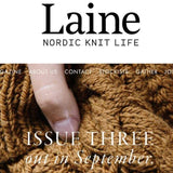 Image text: Laine Nordic Knit Life Issue Three out in September