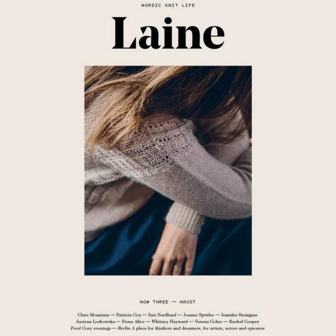 Cover of Laine Issue 3 featuring a model wearing a tan sweater.