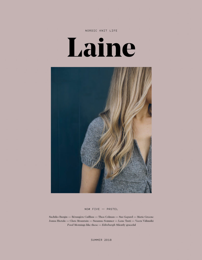 Cover of Laine Issue 5 featuring a model wearing a gray short sleeved knit top.