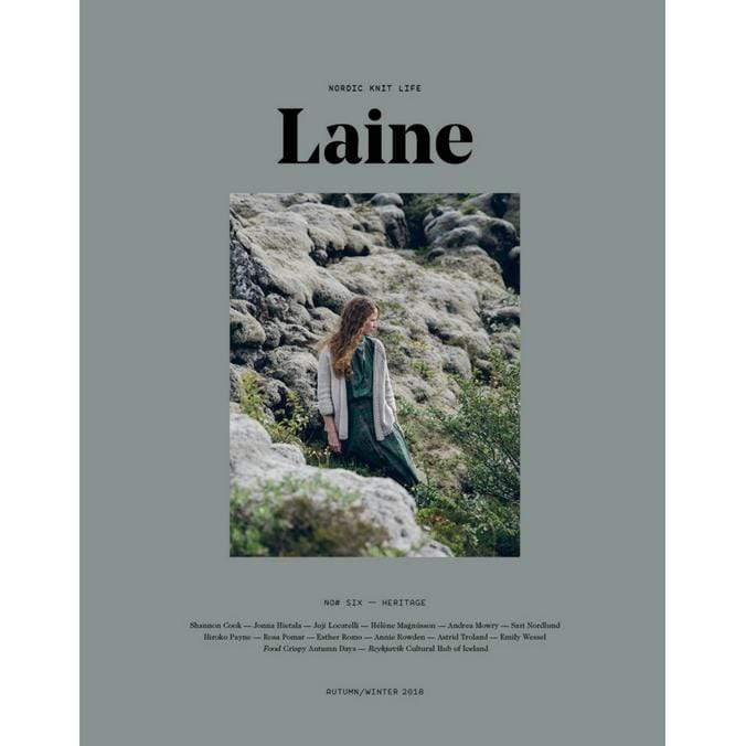 Cover of Laine Issue 6 featuring a model wearing a knit cardigan.