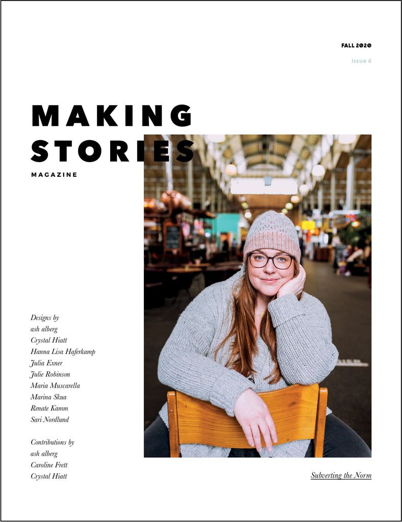 Making Stories issue 4 featuring woman wearing a knit hat and sweater.