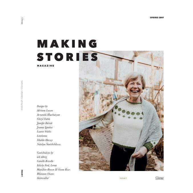 Making Stories Magazine featuring woman wearing knit sweater and shawl.