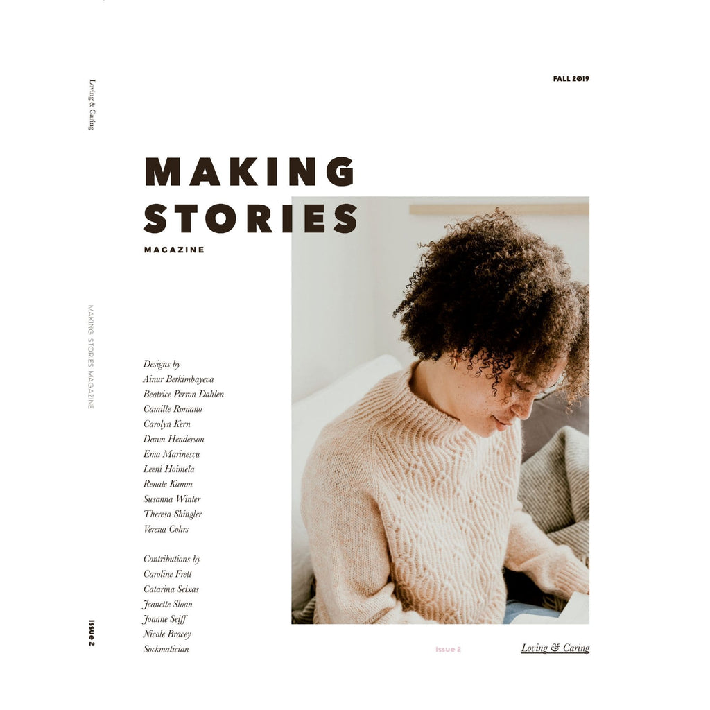 Making Stories Magazine Issue 2, featuring a woman wearing a tan cable knit sweater.