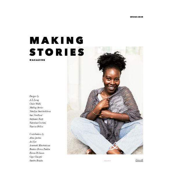 Making Stories issue 3 featuring woman wearing a lace knit shawl.