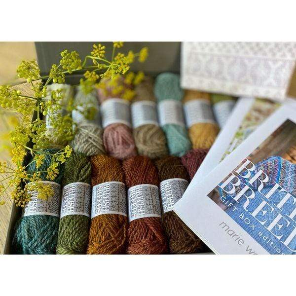 colorful yarn by marie wallin contained in gift box