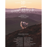 Cover of Shetland Wool Week Annual 2019 Featuring sheep on rolling hills.
