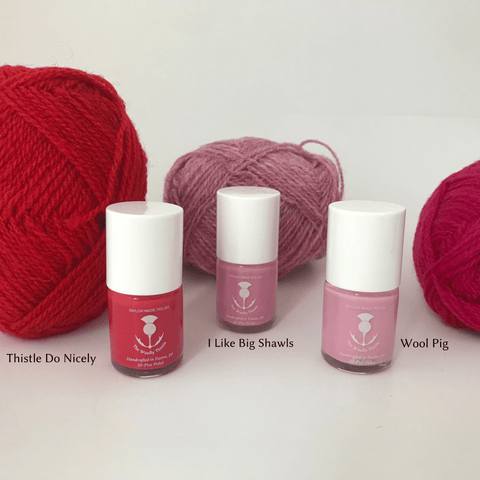 Knitters Nail Polish by The Woolly Thistle in Pink colors: Thistle Do Nicely (deep pink), I Like Big Shawls (Medium Pink), Wool Pig (Light Pink).