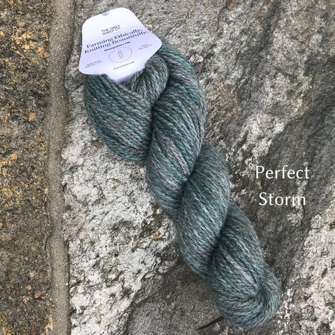 Skein of the Grey Sheep Hampshire DK Yarn in colorway Perfect Storm.