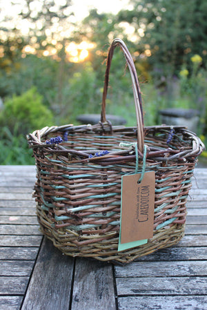 Rustic willow handled basket