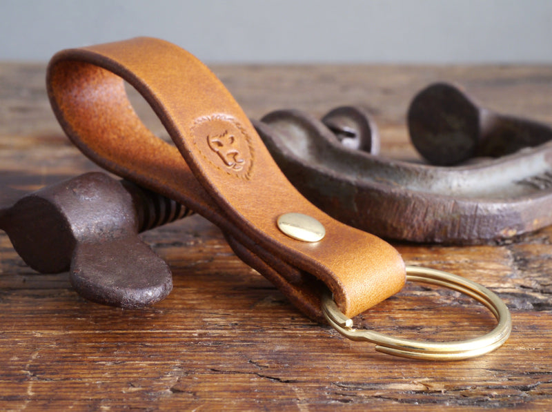 Leather Keyring - Antique Tan