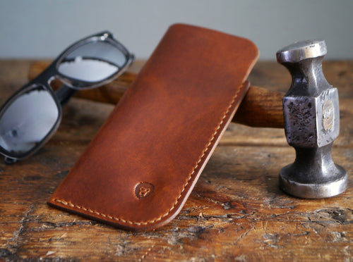 Leather Sunglasses Case - Antique Tan