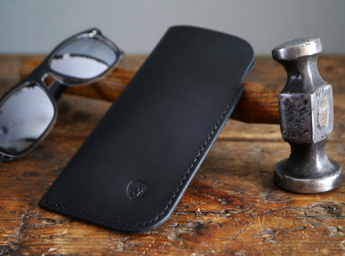 Leather Sunglasses Case - Classic Black