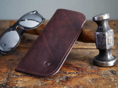 Leather Sunglasses Case - Dark Brown