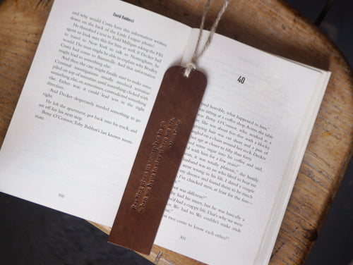 Handmade Leather Bookmark - Dark Brown