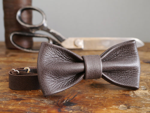 Leather Bow Tie - Espresso Brown