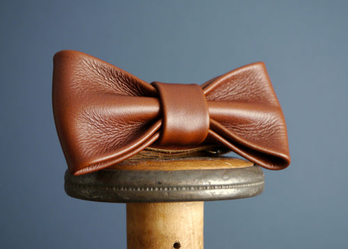 Leather Bow Tie - Dark Tan