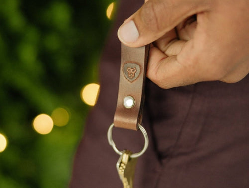 Leather Keyring - Dark Brown
