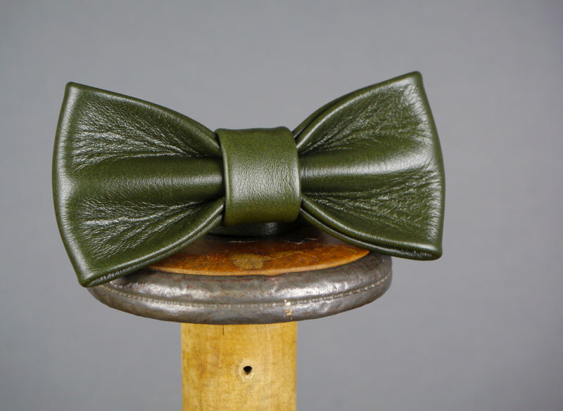 Leather Bow Tie - Racing Green